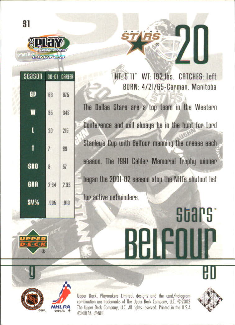 2001-02 UD Playmakers #31 Ed Belfour back image