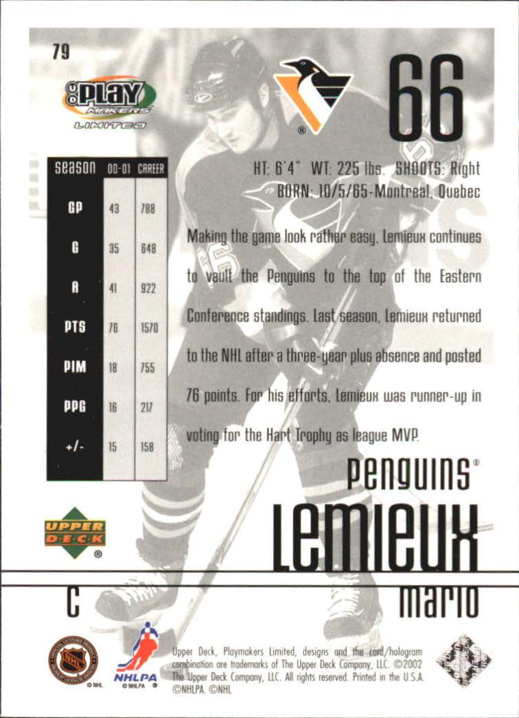 2001-02 UD Playmakers #79 Mario Lemieux back image