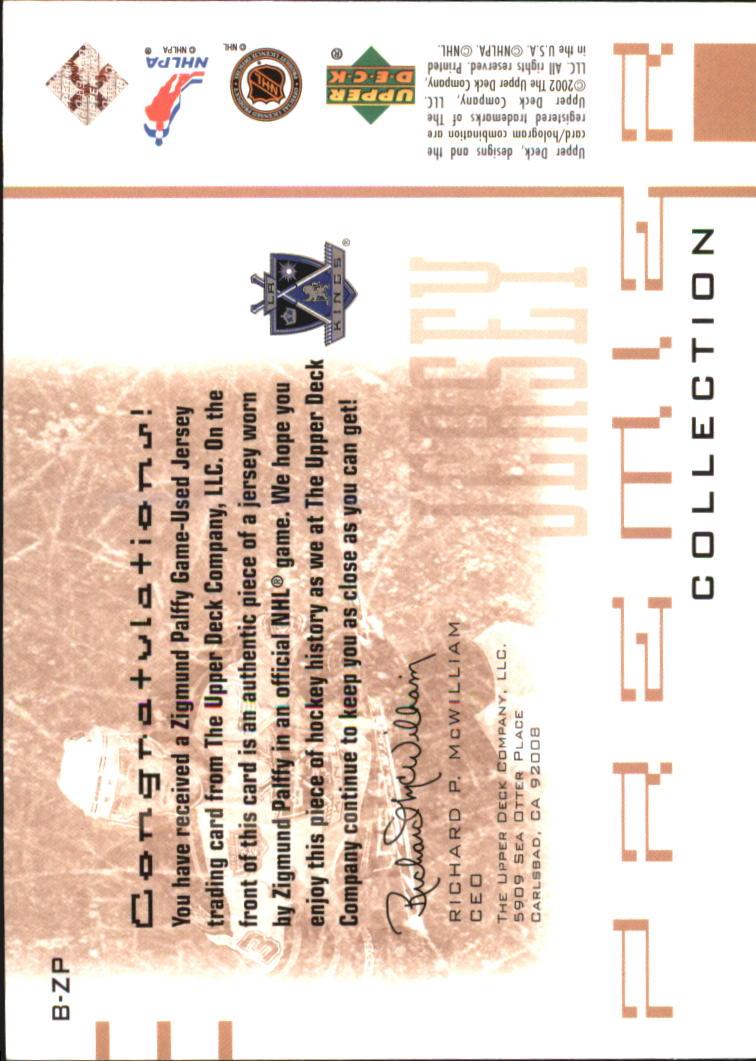 2001-02 UD Premier Collection Jerseys Black #BZP Zigmund Palffy B back image