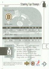 2001-02 UD Stanley Cup Champs #1 Phil Esposito back image