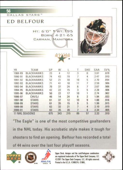 2001-02 Upper Deck #56 Ed Belfour back image