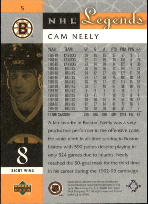2001-02 Upper Deck Legends #5 Cam Neely back image