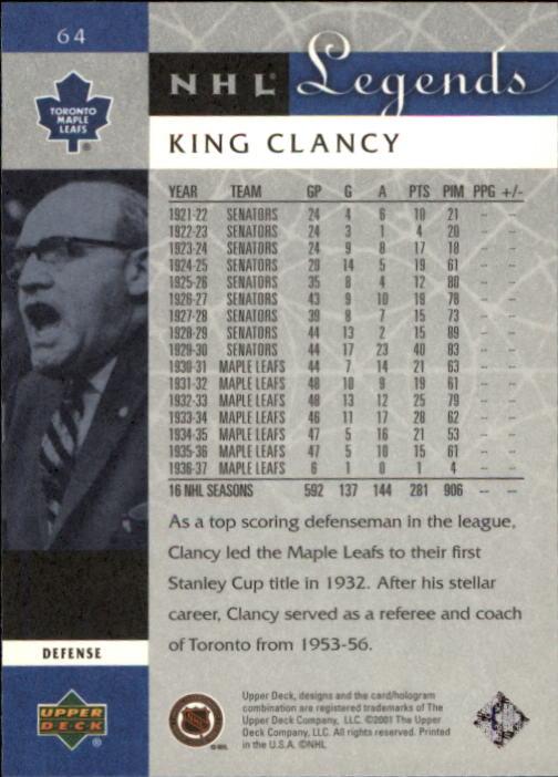 2001-02 Upper Deck Legends #64 King Clancy back image