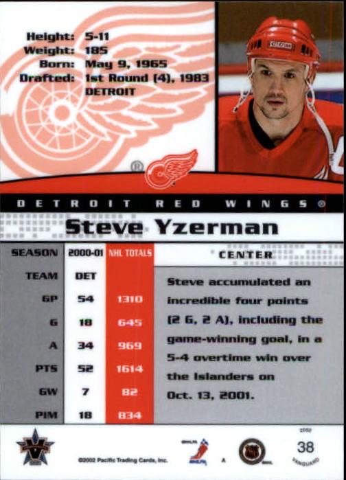 2001-02 Vanguard #38 Steve Yzerman back image