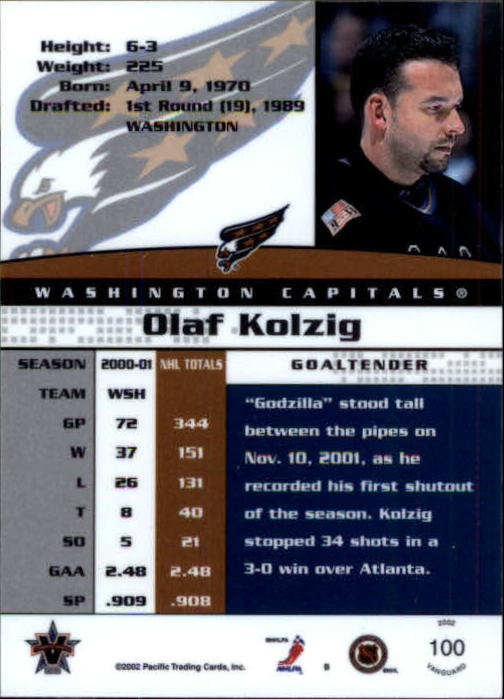2001-02 Vanguard #100 Olaf Kolzig back image
