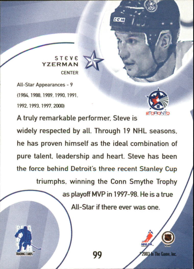 2002-03 BAP All-Star Edition #99 Steve Yzerman back image