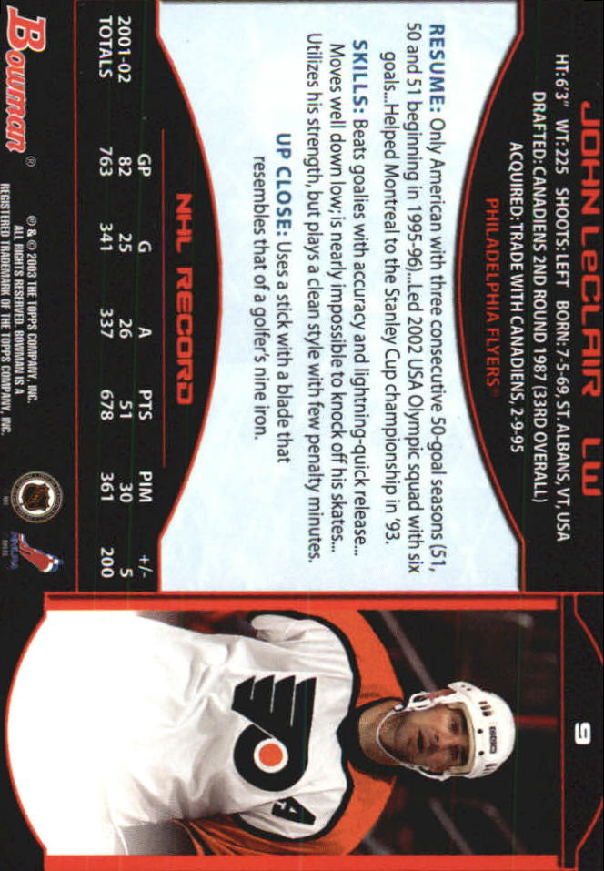 2002-03 Bowman YoungStars #9 John LeClair back image