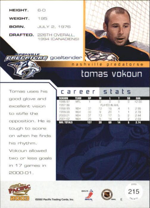 2002-03 Pacific #215 Tomas Vokoun back image