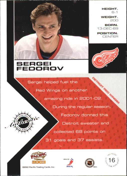 2002-03 Pacific Jerseys #16 Sergei Fedorov back image