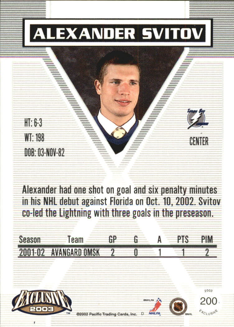 2002-03 Pacific Exclusive Retail #200 Alexander Svitov RC back image