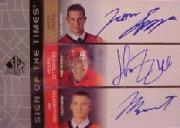 2002-03 SP Authentic Sign of the Times #SZB Jason Spezza/Henrik Zetterberg/Jason Bouwmeester