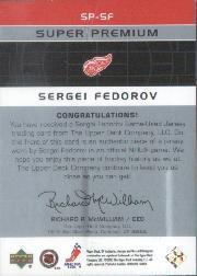 2002-03 SP Authentic Super Premium Jerseys #SPSF Sergei Fedorov back image
