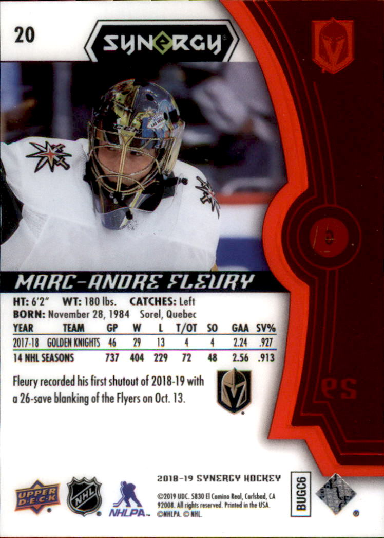 2018-19 Synergy Red #20 Marc-Andre Fleury back image