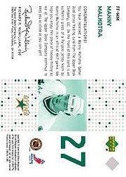 2002-03 SP Game Used Future Fabrics #FFMM Manny Malhotra back image
