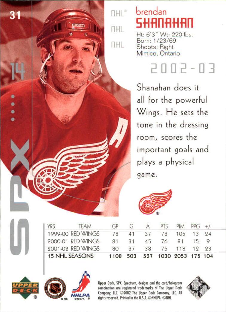 2002-03 SPx #31 Brendan Shanahan back image