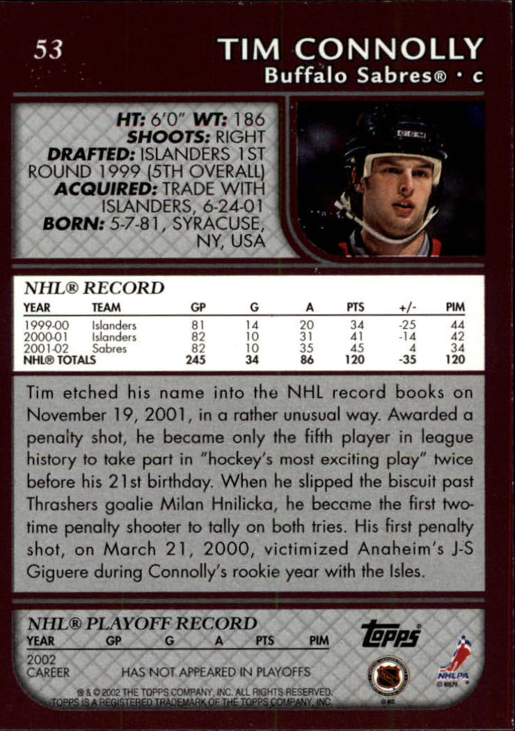 2002-03 Topps #53 Tim Connolly back image