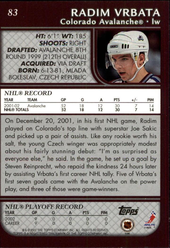 2002-03 Topps #83 Radim Vrbata back image