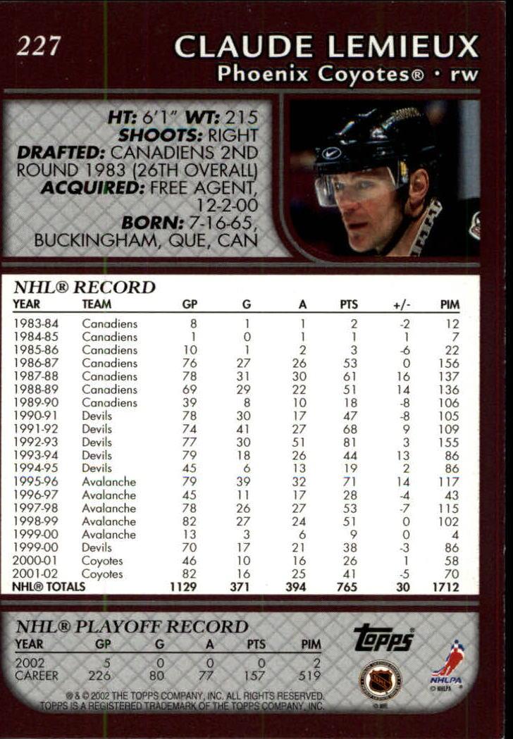 2002-03 Topps #227 Claude Lemieux back image