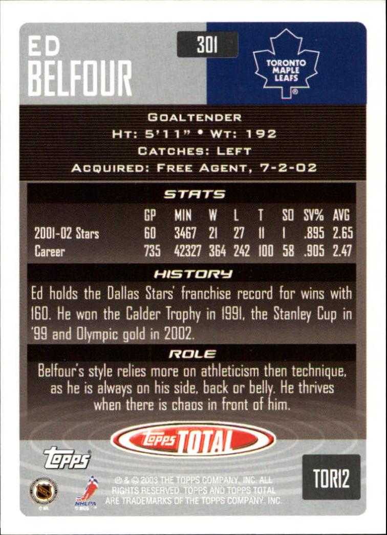 2002-03 Topps Total #301 Ed Belfour back image