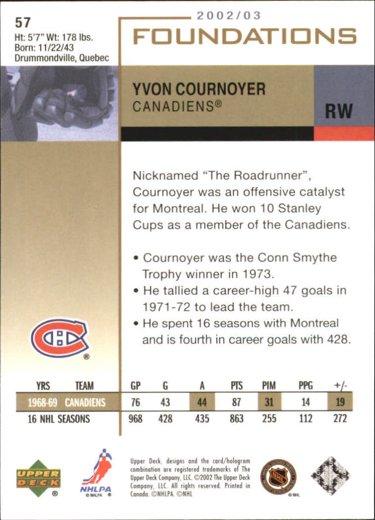 2002-03 Upper Deck Foundations #57 Yvan Cournoyer back image