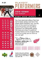 2002-03 Upper Deck Foundations Playoff Performers #PSY Steve Yzerman back image