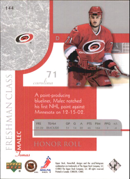 2002-03 Upper Deck Honor Roll #144 Tomas Malec RC back image