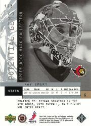 2002-03 UD Mask Collection #153 Ray Emery RC back image