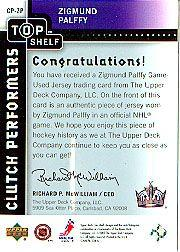 2002-03 UD Top Shelf Clutch Performers Jerseys #CPZP Zigmund Palffy back image