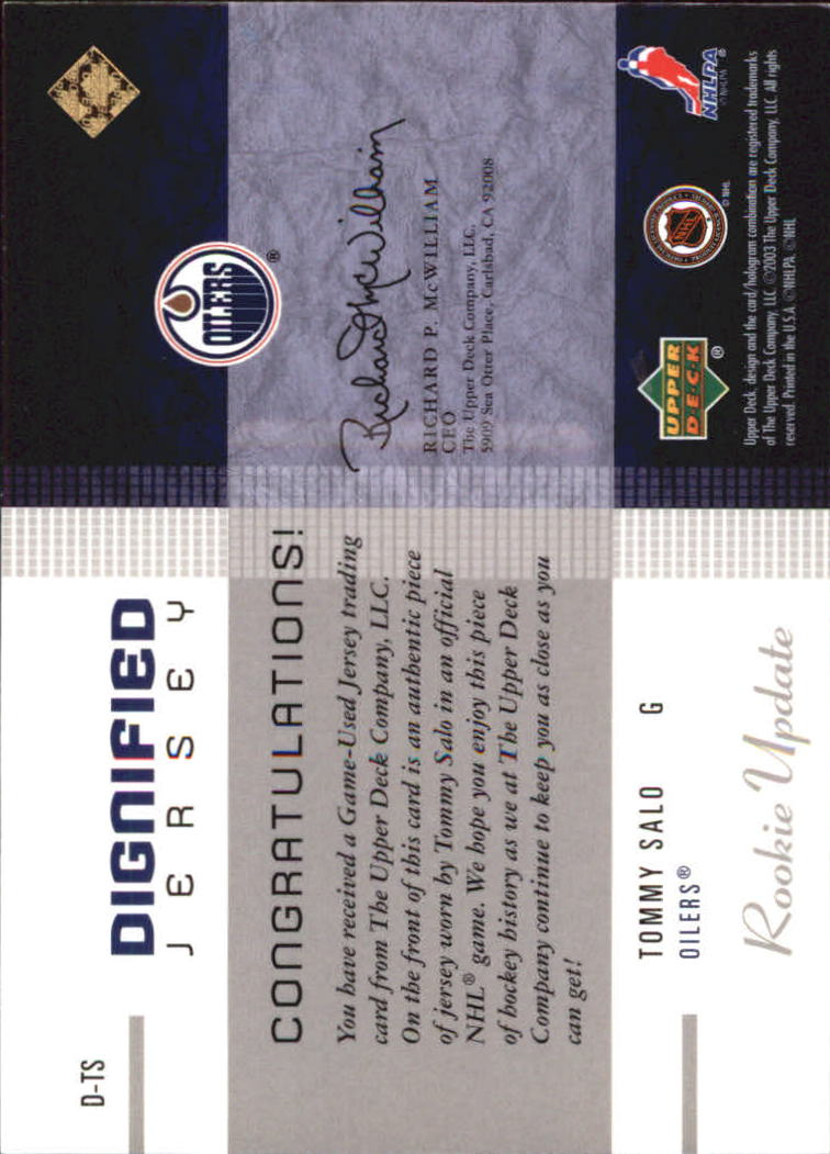2002-03 Upper Deck Rookie Update Jerseys Gold #DTS Tommy Salo back image