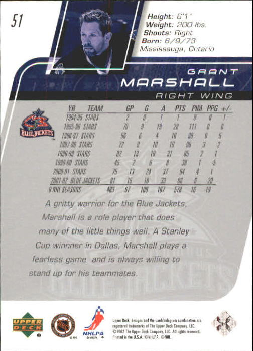 2002-03 Upper Deck #51 Grant Marshall back image
