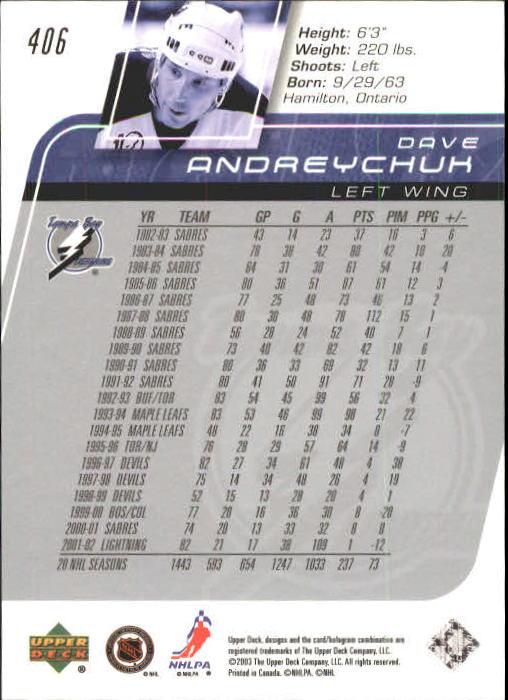 2002-03 Upper Deck #406 Dave Andreychuk back image