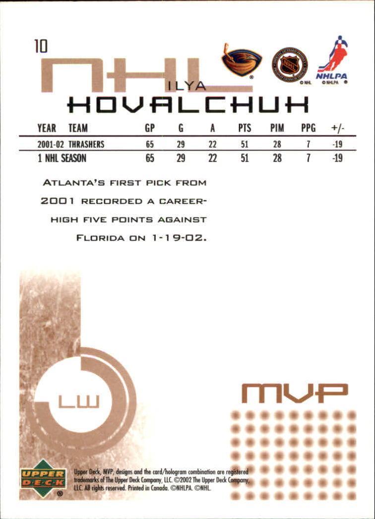 2002-03 Upper Deck MVP #10 Ilya Kovalchuk back image