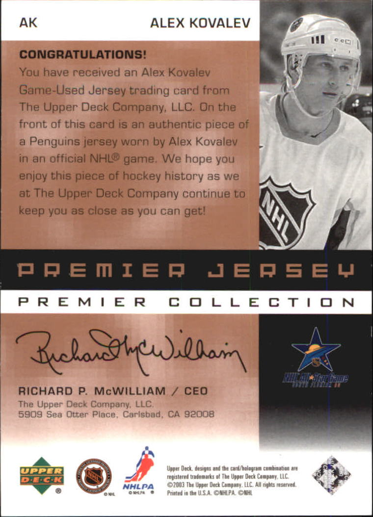 2002-03 UD Premier Collection Jerseys Bronze #AK Alexei Kovalev back image