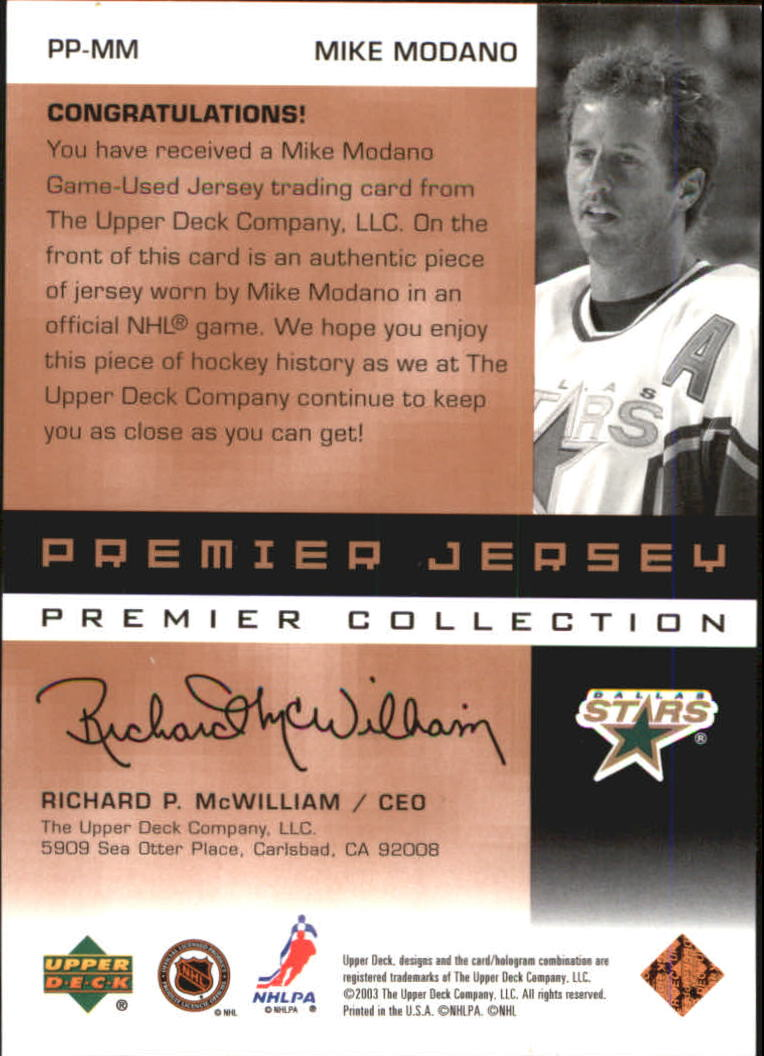 2002-03 UD Premier Collection Jerseys Bronze #MM Mike Modano back image
