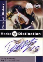 2002-03 UD Piece of History Marks of Distinction #DH Dany Heatley