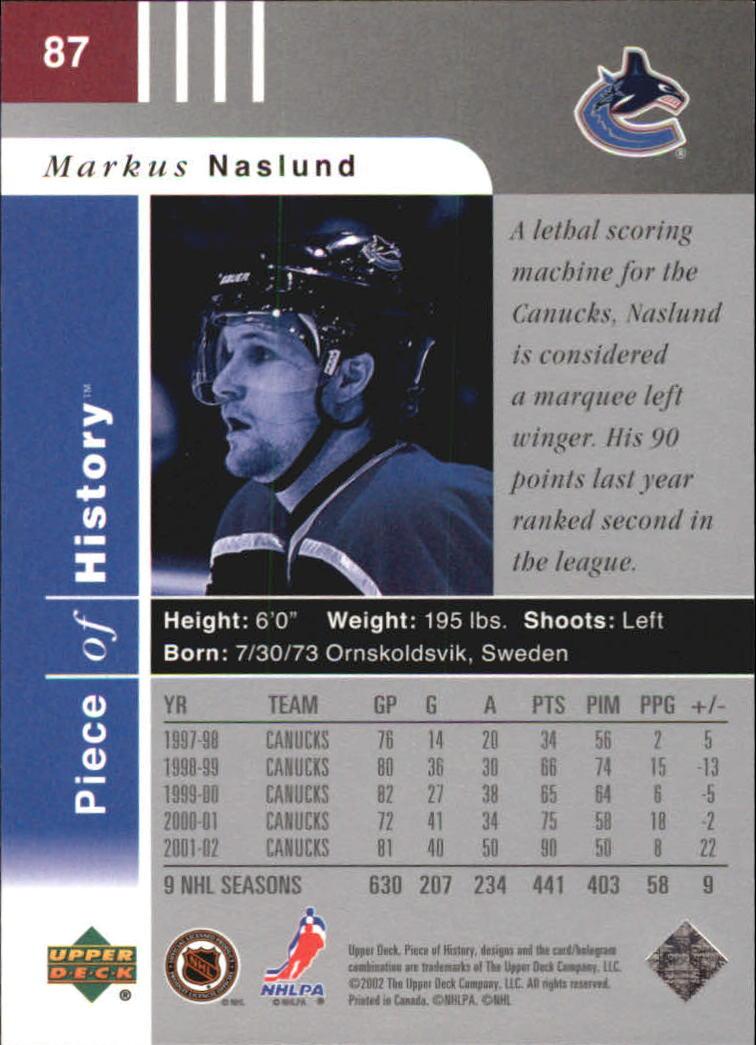 2002-03 UD Piece of History #87 Markus Naslund back image