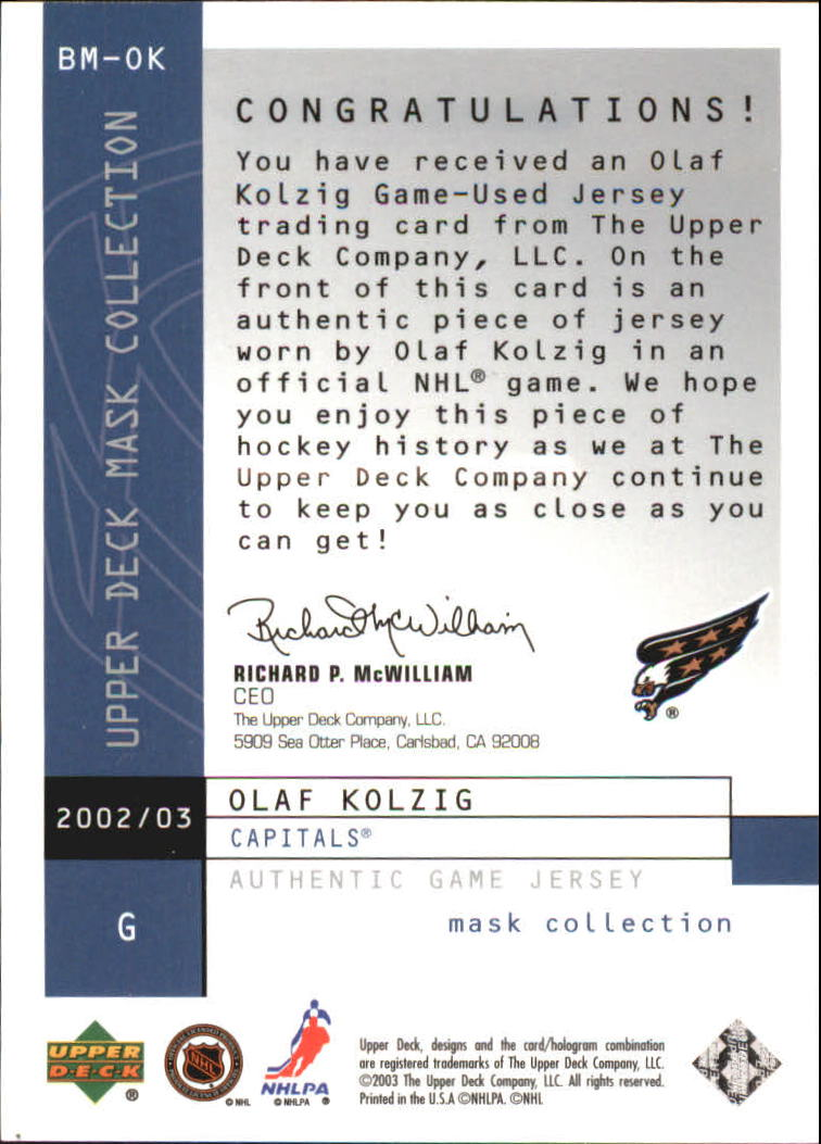 2002-03 UD Mask Collection Behind the Mask #BMOK Olaf Kolzig back image