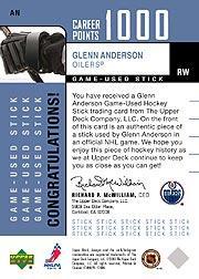 2002-03 Upper Deck Foundations 1000 Point Club #AN Glenn Anderson STK back image