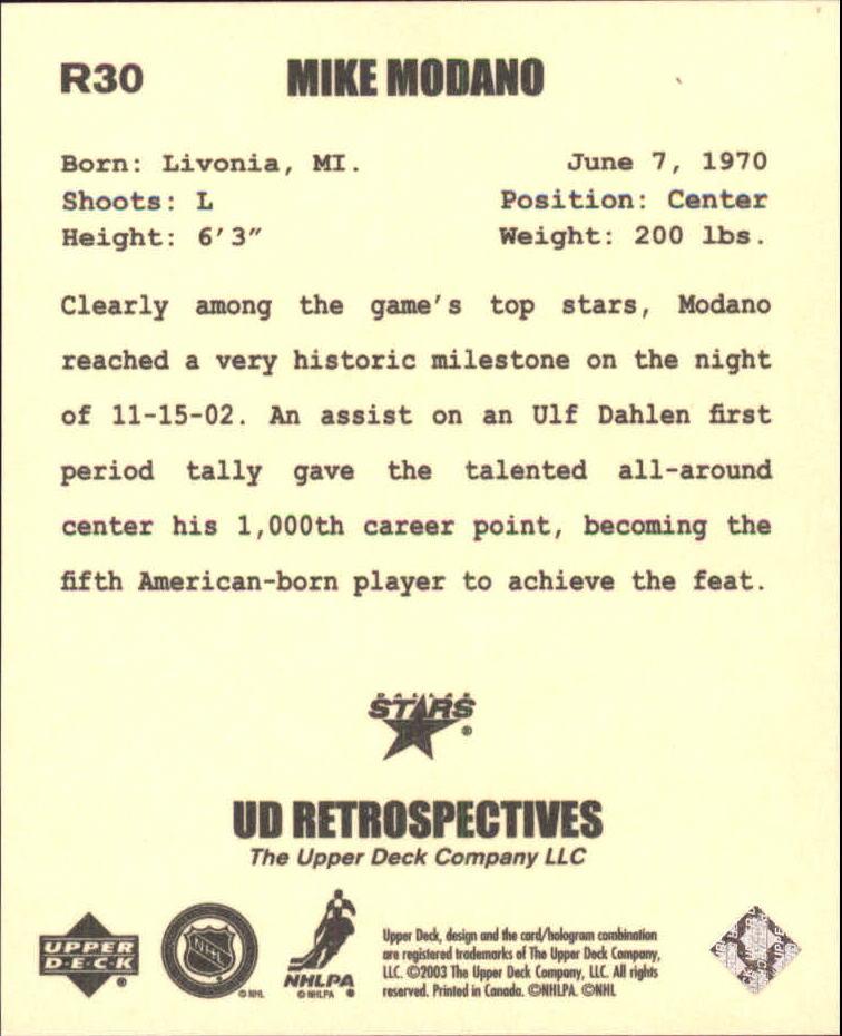 2002-03 UD Artistic Impressions Retrospectives #R30 Mike Modano back image