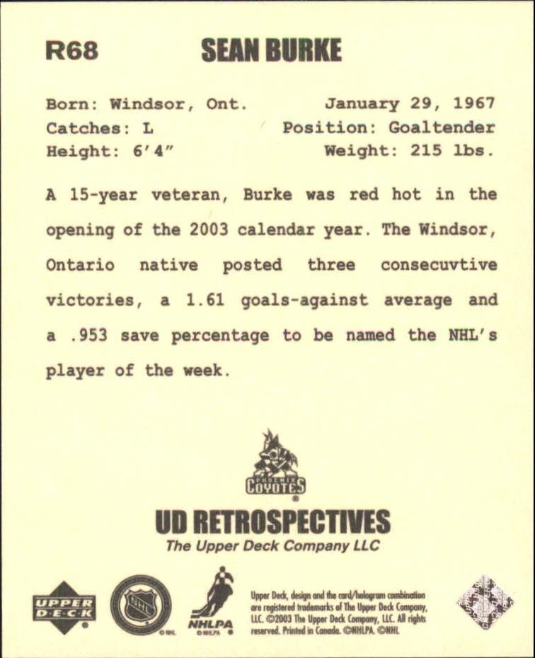 2002-03 UD Artistic Impressions Retrospectives #R68 Sean Burke back image