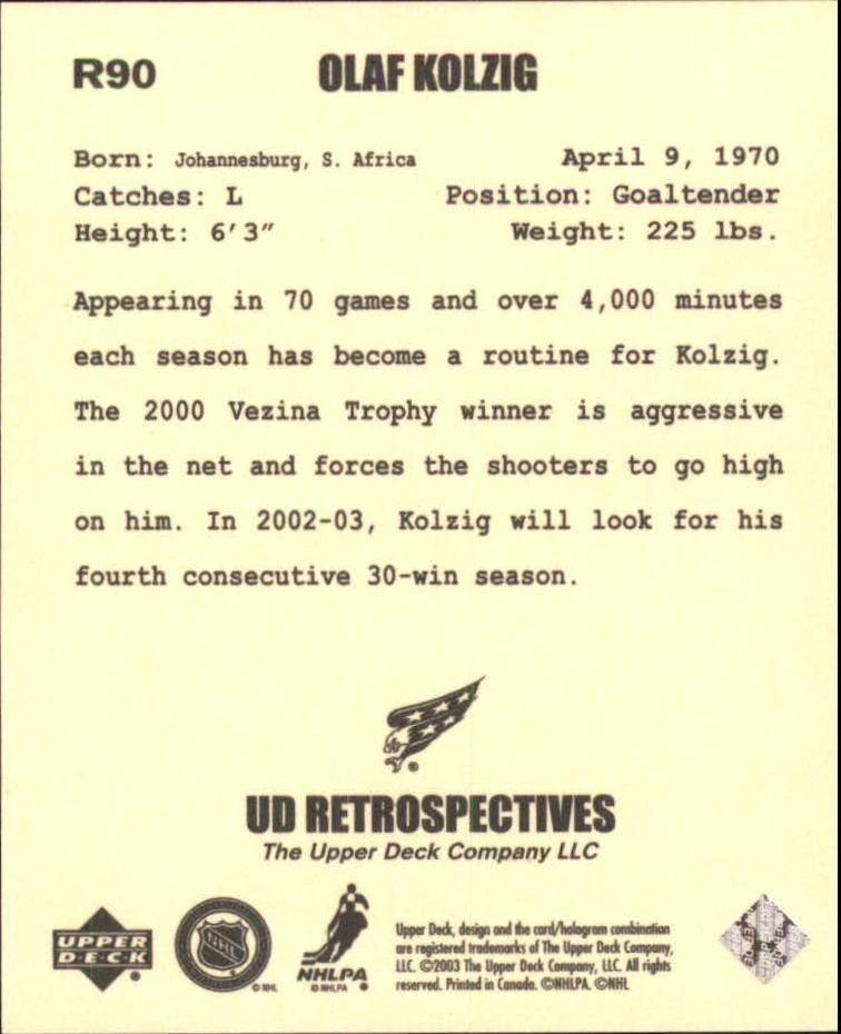 2002-03 UD Artistic Impressions Retrospectives #R90 Olaf Kolzig back image