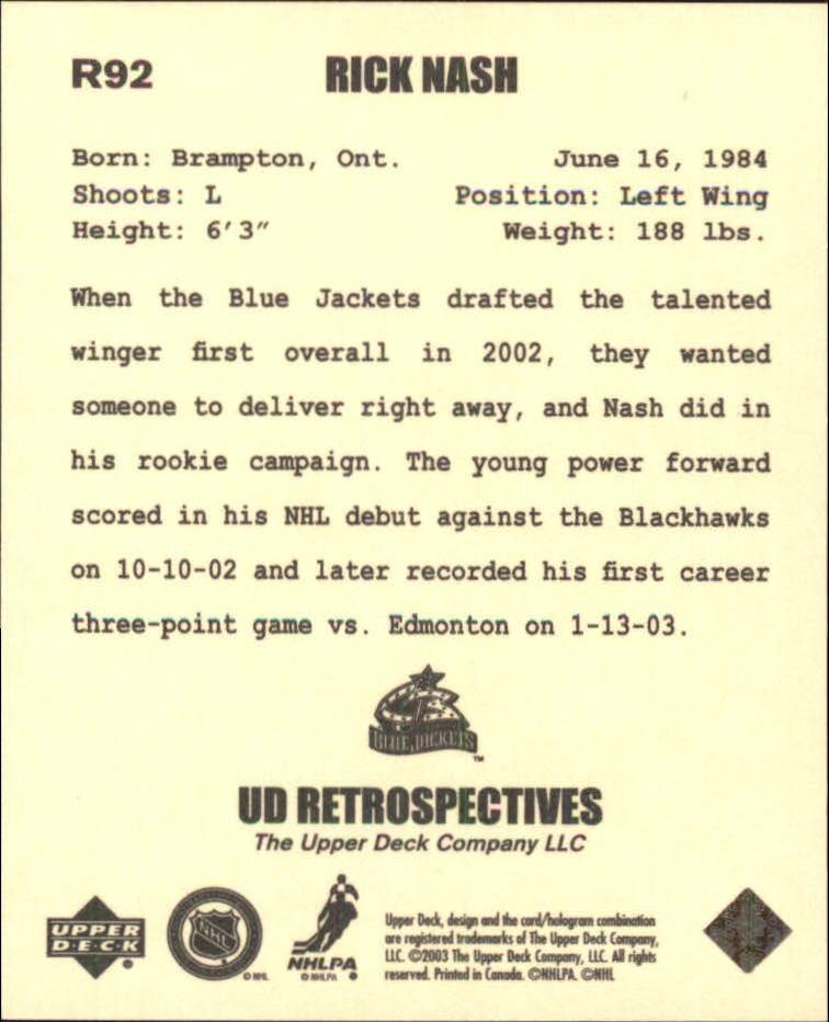 2002-03 UD Artistic Impressions Retrospectives #R92 Rick Nash back image
