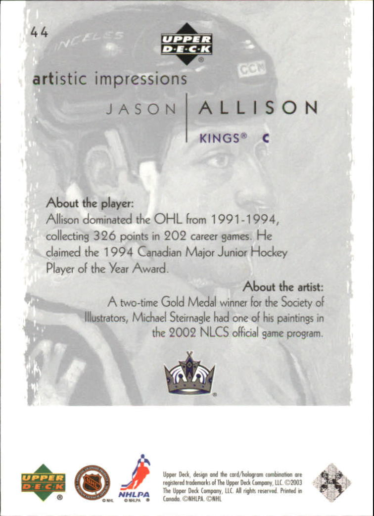 2002-03-UD-Artistic-Impressions-Hockey-Cards-Pick-From-List miniature 81
