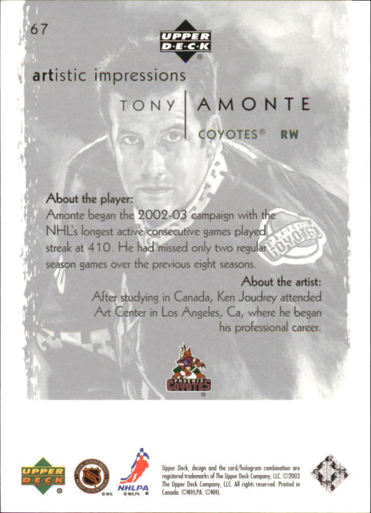 2002-03-UD-Artistic-Impressions-Hockey-Cards-Pick-From-List miniature 121