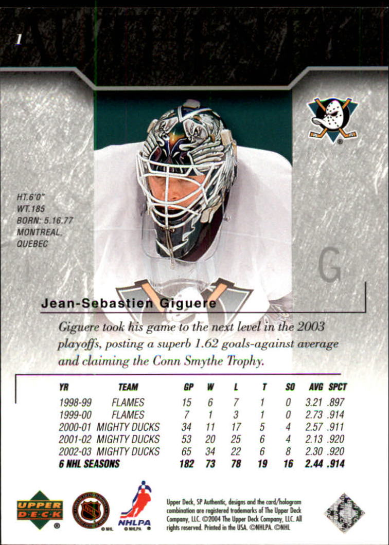 2003-04 SP Authentic #1 Jean-Sebastien Giguere back image