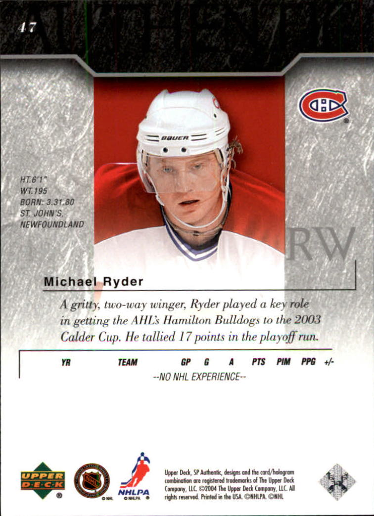 2003-04 SP Authentic #47 Michael Ryder back image