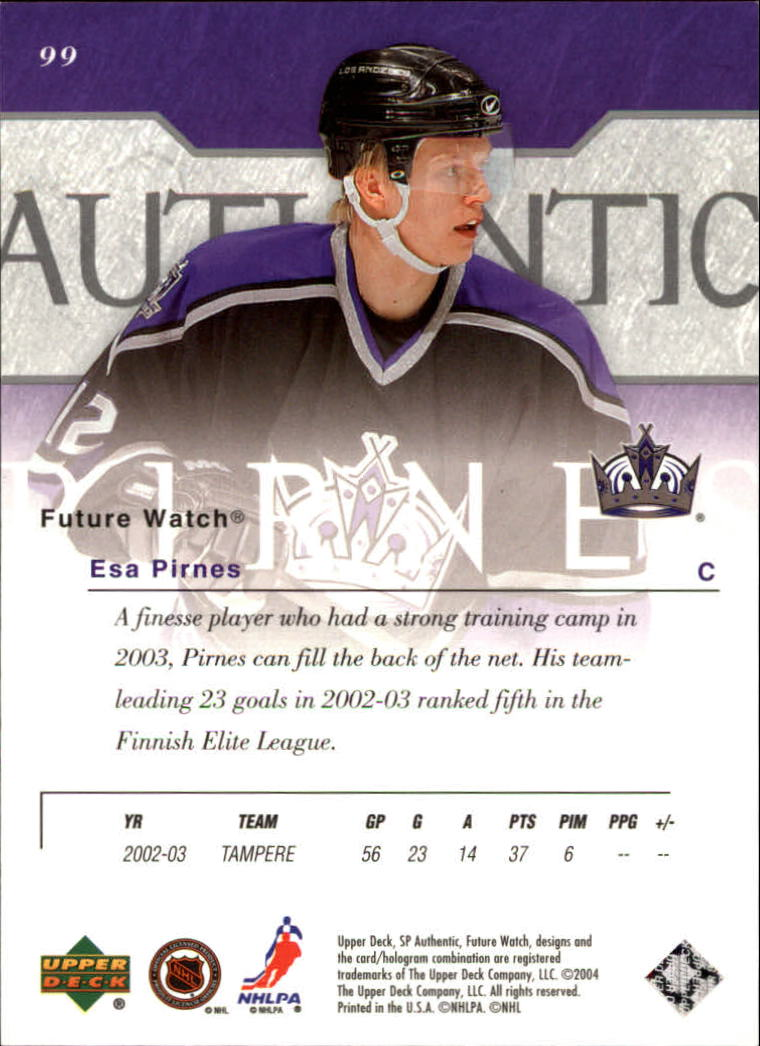 2003-04 SP Authentic #99 Esa Pirnes RC back image