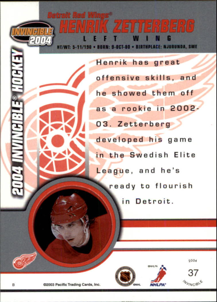 2003-04 Pacific Invincible #37 Henrik Zetterberg back image