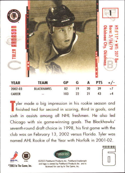 2003-04 Parkhurst Original Six Chicago #1 Tyler Arnason back image
