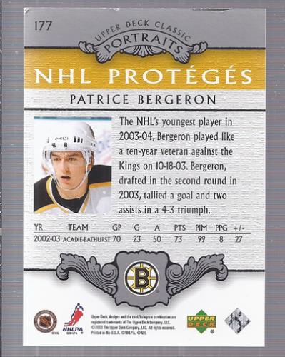 2003-04 Upper Deck Classic Portraits #177 Patrice Bergeron RC back image